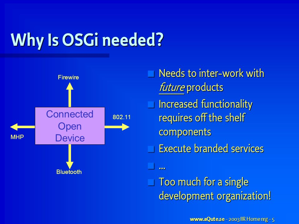 www.aQute.se - 2003 IIR Home nrg - 5 Why Is OSGi needed.