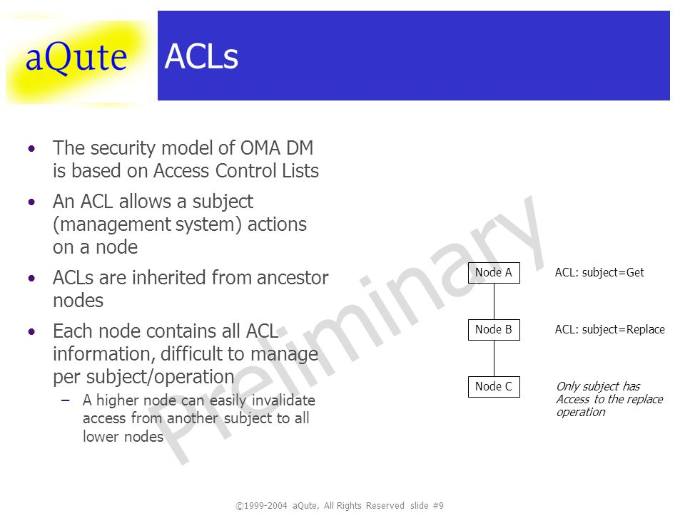 ©1999-2004 aQute, All Rights Reserved slide #20 Preliminary Small Planned Changes AutoClean header –Bundles with this header will be removed when there are no more dependencies to it Post-DeployState (Eclipses AutoStart) –If the bundle is deployed, should it be started?