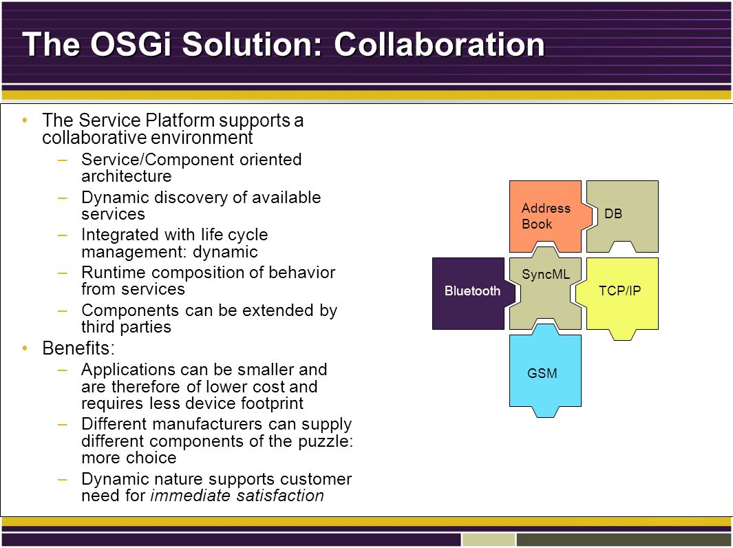 The OSGi Solution: Collaboration The Service Platform supports a collaborative environmentThe Service Platform supports a collaborative environment –Service/Component oriented architecture –Dynamic discovery of available services –Integrated with life cycle management: dynamic –Runtime composition of behavior from services –Components can be extended by third parties Benefits:Benefits: –Applications can be smaller and are therefore of lower cost and requires less device footprint –Different manufacturers can supply different components of the puzzle: more choice –Dynamic nature supports customer need for immediate satisfaction Address Book SyncML Bluetooth DB TCP/IP GSM
