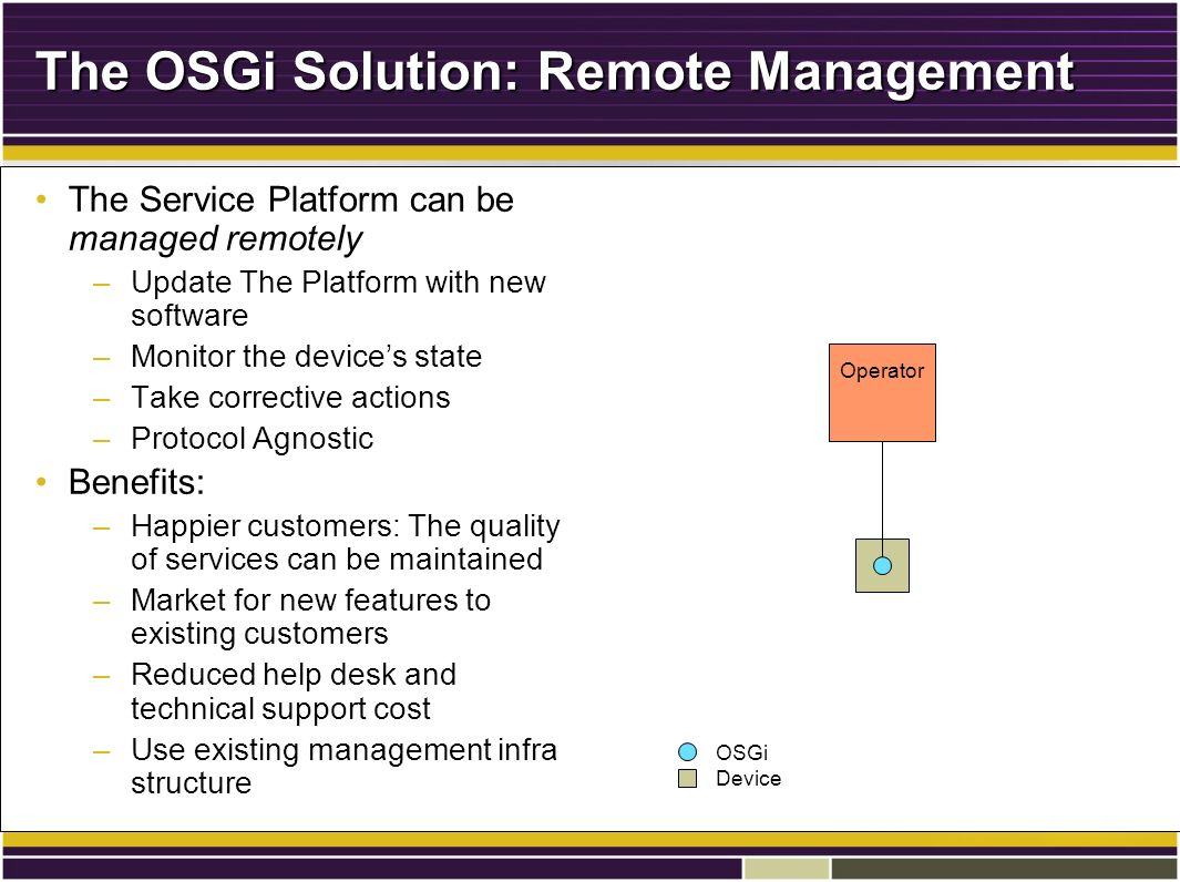 The OSGi Solution: Remote Management The Service Platform can be managed remotelyThe Service Platform can be managed remotely –Update The Platform with new software –Monitor the devices state –Take corrective actions –Protocol Agnostic Benefits:Benefits: –Happier customers: The quality of services can be maintained –Market for new features to existing customers –Reduced help desk and technical support cost –Use existing management infra structure Operator OSGi Device