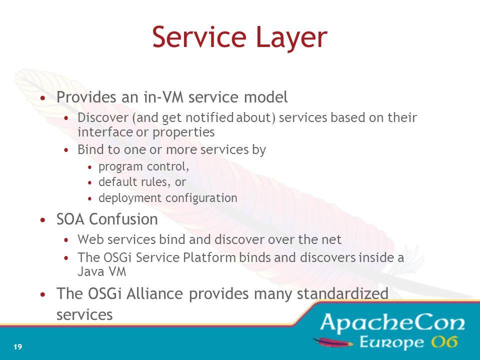17 Life Cycle Layer System Bundle represents the OSGi Framework Provides an API for managing bundles Install Resolve Start Stop Refresh Update Uninsta