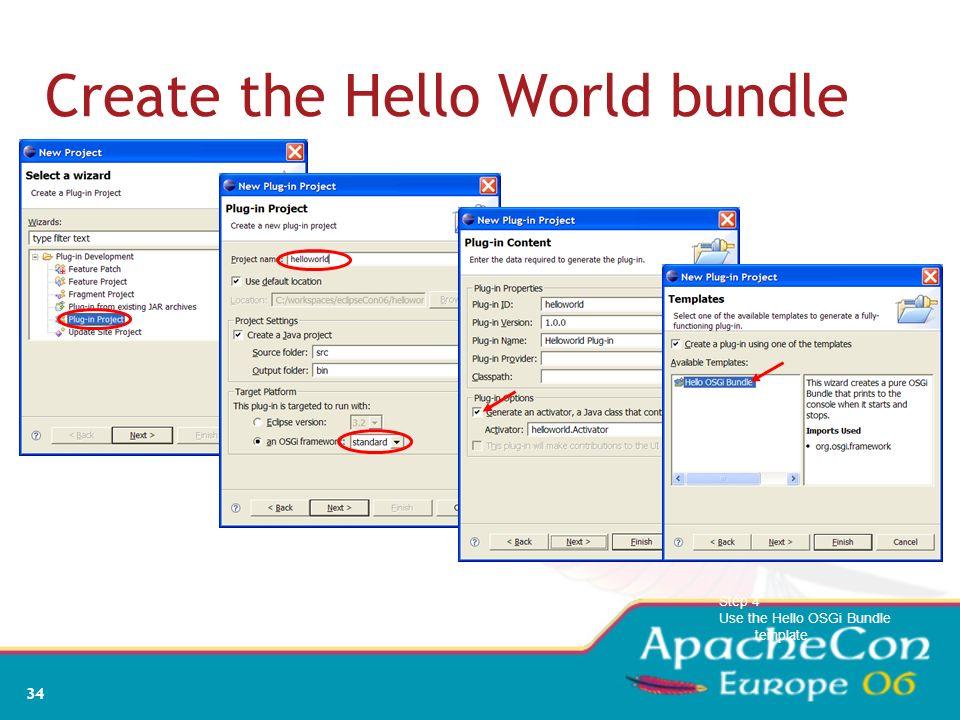 32 Bundles A bundle is the deliverable application Like a Windows EXE file Content is a JAR file A bundle registers zero or more services A service is
