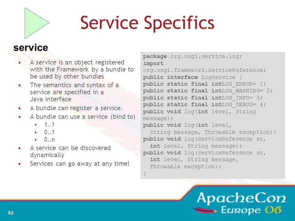 51 OSGi dependency resolution Bundle A Export org.osgi.service.log com.ibm.service.log com.ibm.j9 Import org.osgi.service.http javax.servlet.http Fram