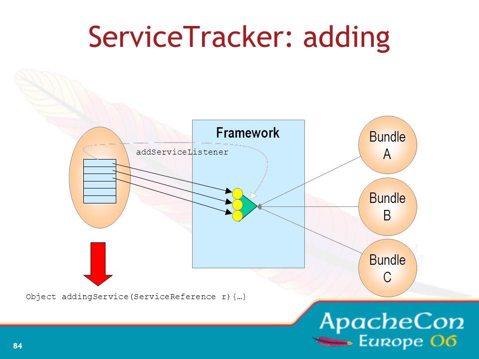 82 ServiceTracker: create Framework Bundle A Bundle B Bundle C