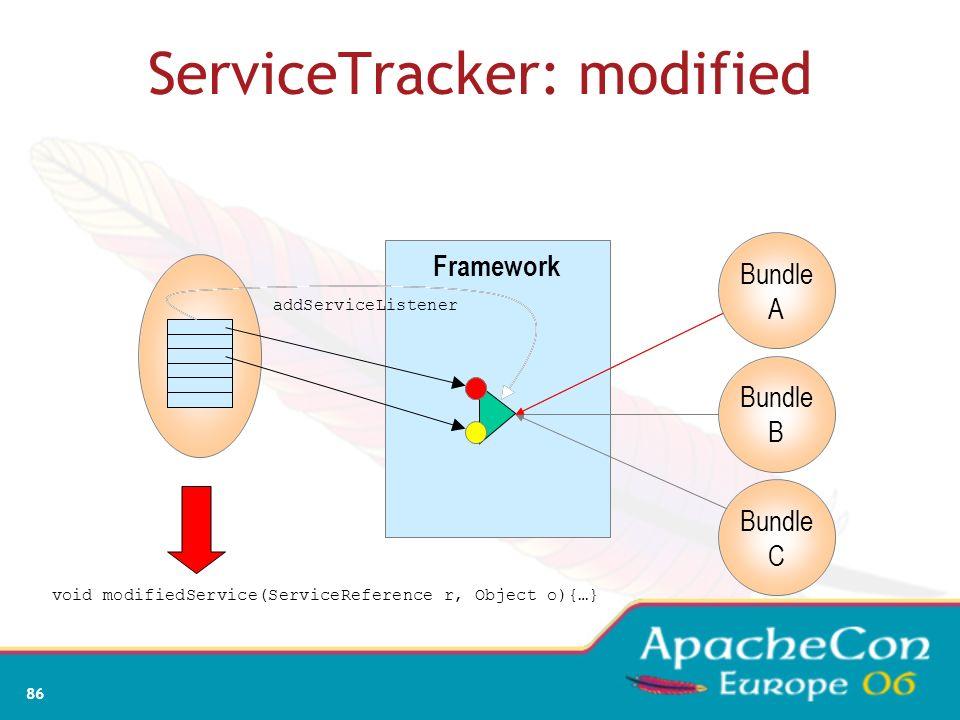 84 ServiceTracker: adding Framework Bundle A Bundle B Bundle C addServiceListener Object addingService(ServiceReference r){…}