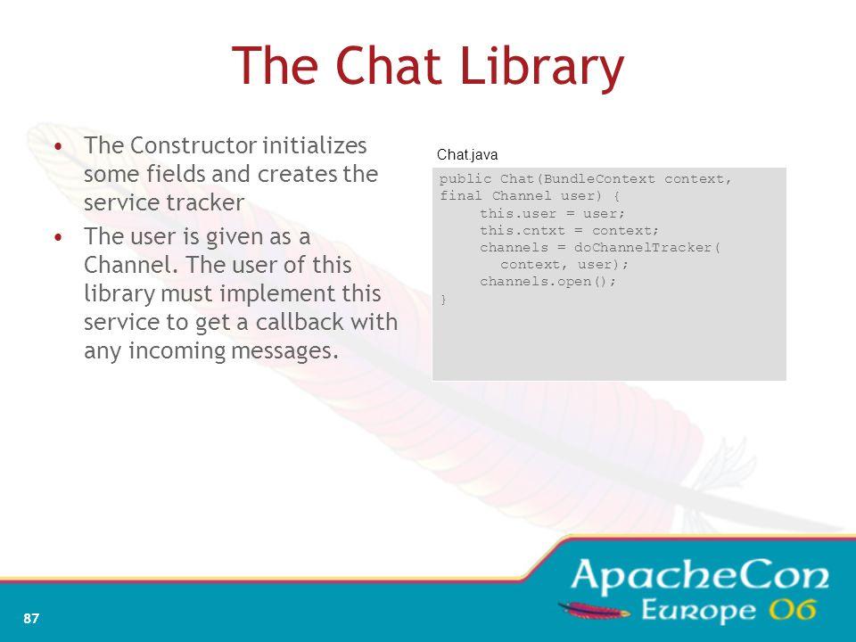 85 ServiceTracker: removing Framework Bundle A Bundle B Bundle C addServiceListener void removedService(ServiceReference r,Objecto){…}