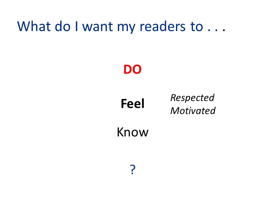 What do I want my readers to... DO Feel Know Respected Motivated