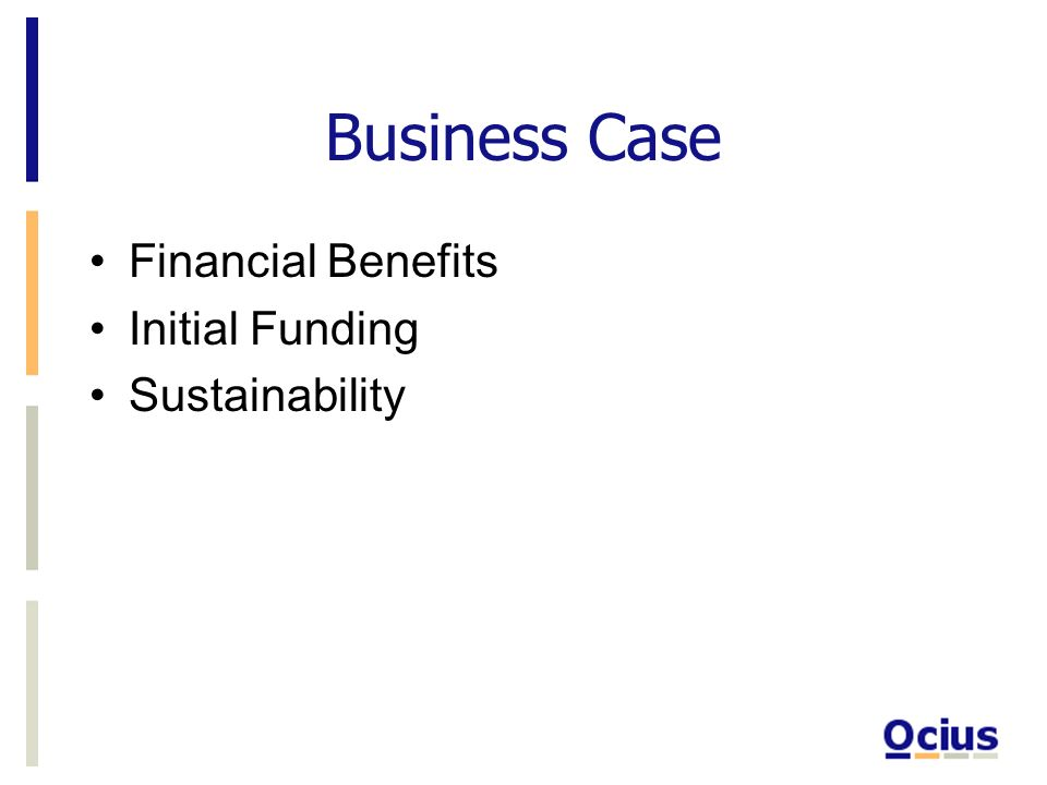 Business Case Financial Benefits Initial Funding Sustainability
