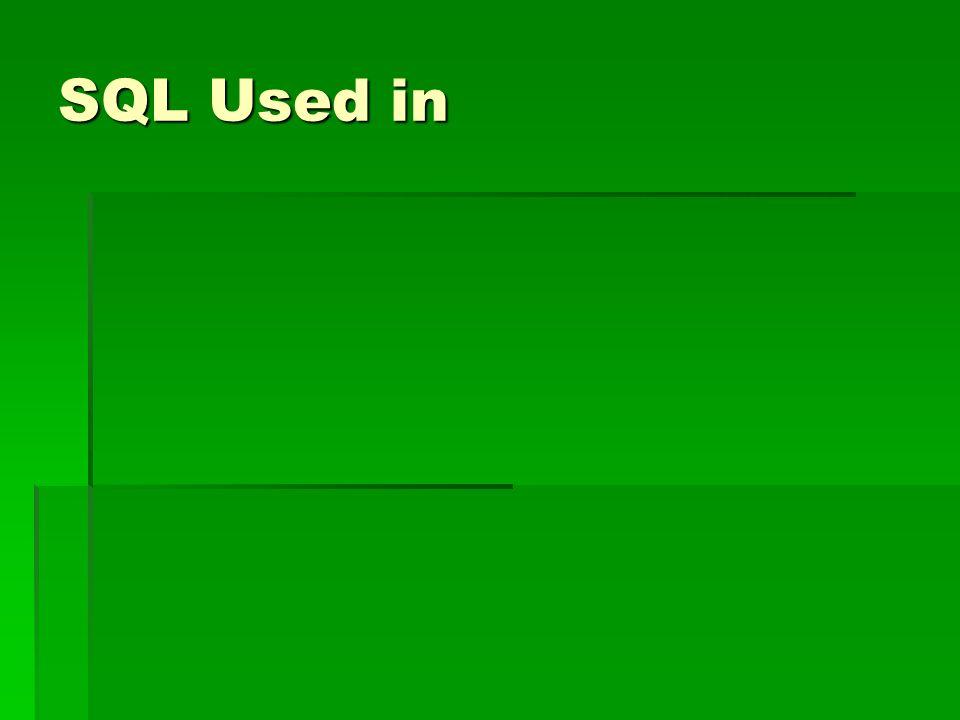 SQL Used in