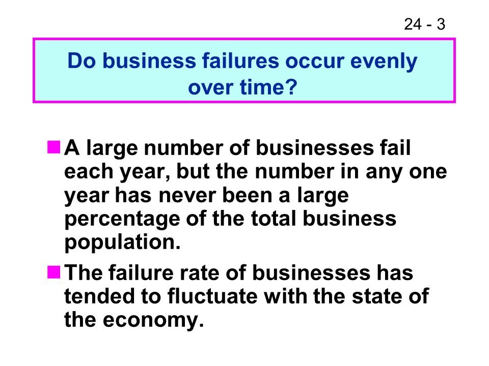 24 - 3 A large number of businesses fail each year, but the number in any one year has never been a large percentage of the total business population.