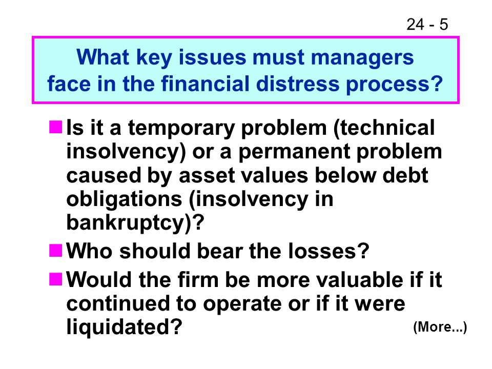24 - 5 Is it a temporary problem (technical insolvency) or a permanent problem caused by asset values below debt obligations (insolvency in bankruptcy