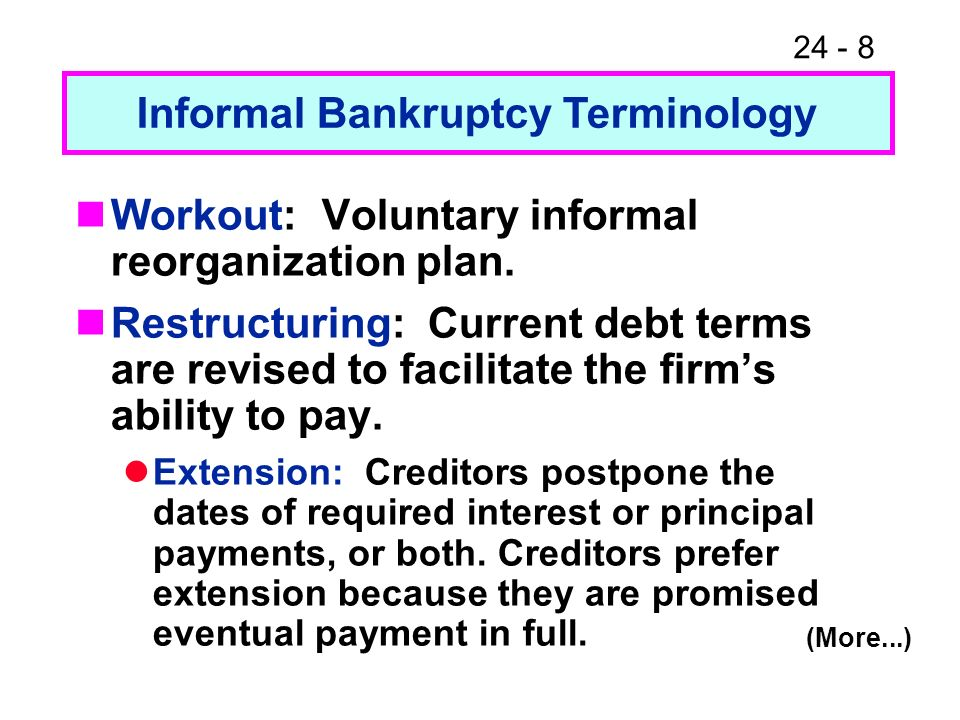 24 - 8 Workout: Voluntary informal reorganization plan. Restructuring: Current debt terms are revised to facilitate the firms ability to pay. Extensio
