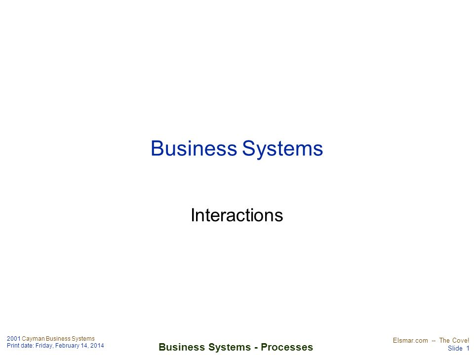 2001 Cayman Business Systems Print date: Friday, February 14, 2014 Elsmar.com -- The Cove! Slide 1 Business Systems - Processes Business Systems Inter