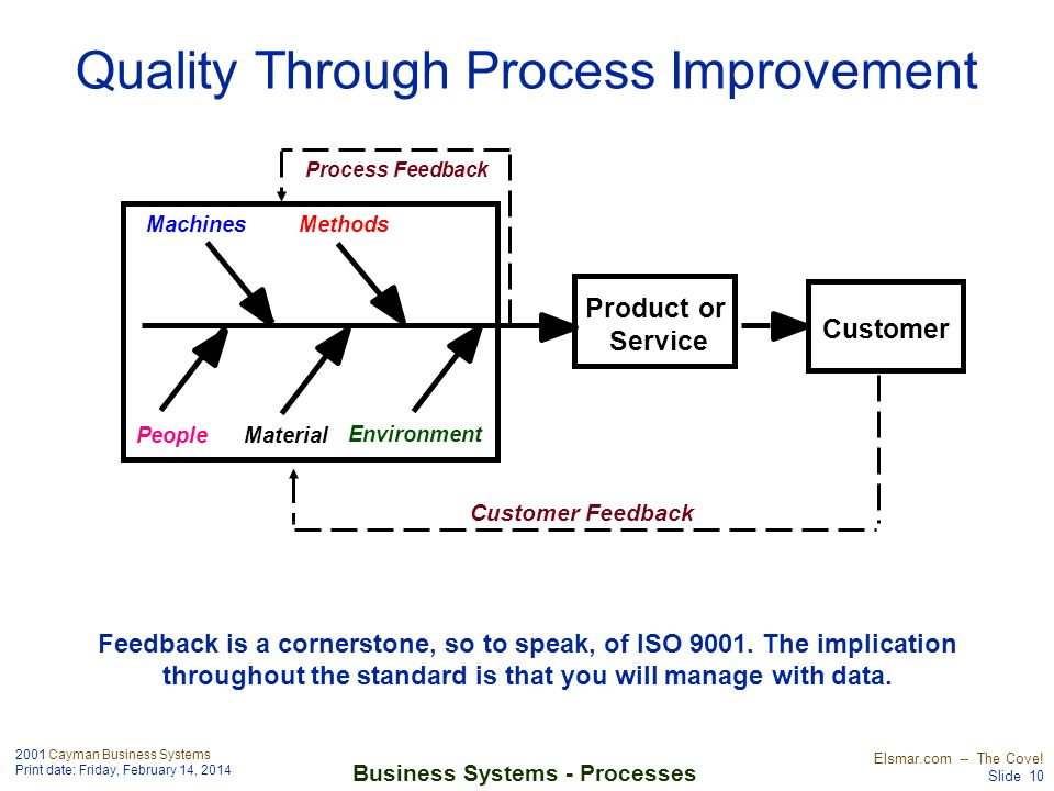 2001 Cayman Business Systems Print date: Friday, February 14, 2014 Elsmar.com -- The Cove! Slide 10 Business Systems - Processes Quality Through Proce