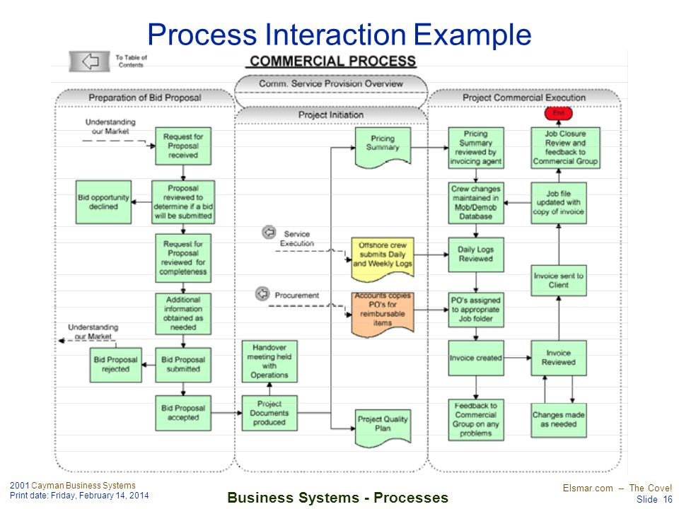 2001 Cayman Business Systems Print date: Friday, February 14, 2014 Elsmar.com -- The Cove! Slide 16 Business Systems - Processes Process Interaction E
