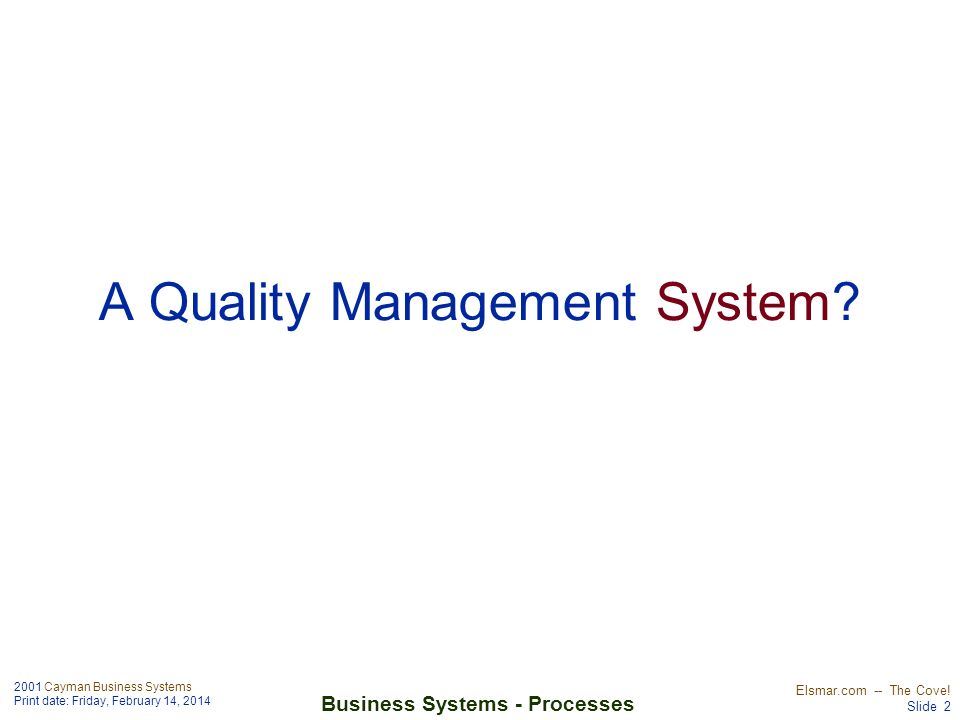 2001 Cayman Business Systems Print date: Friday, February 14, 2014 Elsmar.com -- The Cove! Slide 2 Business Systems - Processes A Quality Management S