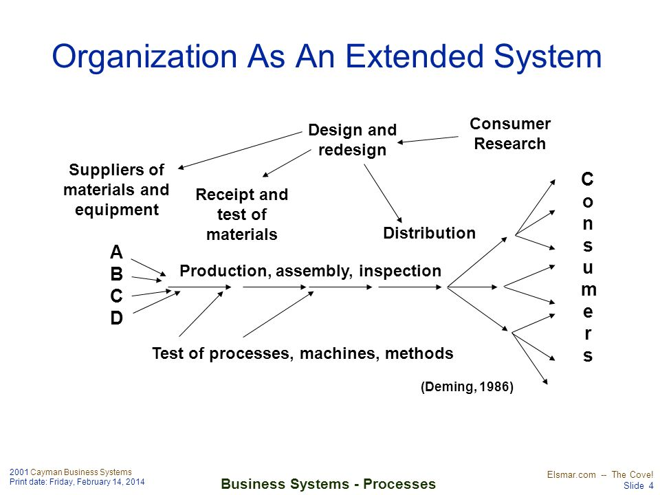 2001 Cayman Business Systems Print date: Friday, February 14, 2014 Elsmar.com -- The Cove! Slide 4 Business Systems - Processes Organization As An Ext