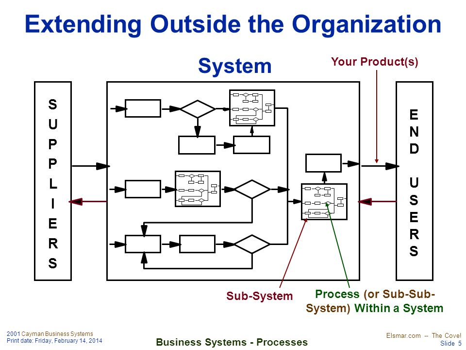 2001 Cayman Business Systems Print date: Friday, February 14, 2014 Elsmar.com -- The Cove! Slide 5 Business Systems - Processes Extending Outside the