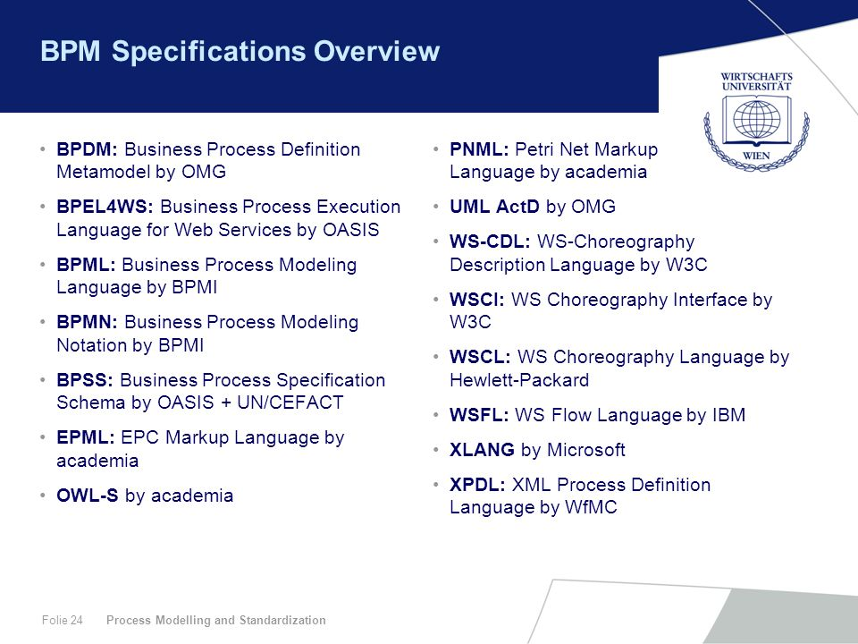 Process Modelling and StandardizationFolie 24 BPM Specifications Overview BPDM: Business Process Definition Metamodel by OMG BPEL4WS: Business Process