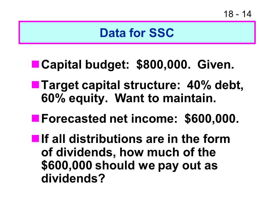 18 - 14 Data for SSC Capital budget: $800,000. Given.