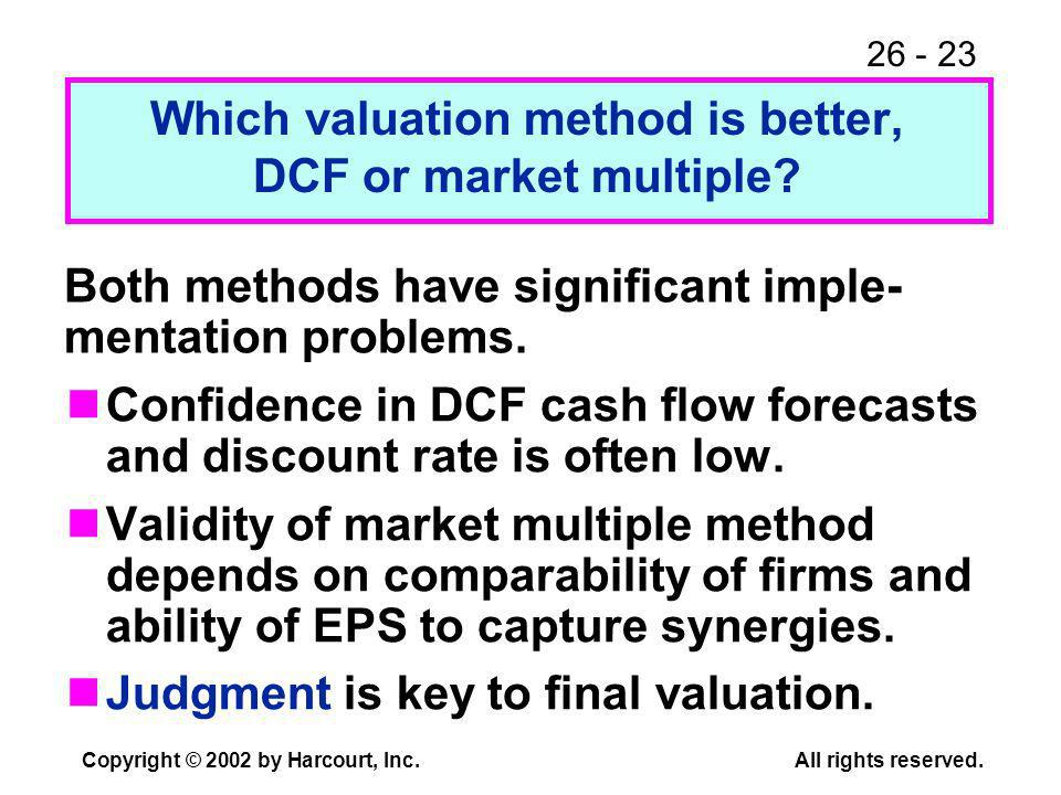26 - 23 Copyright © 2002 by Harcourt, Inc.All rights reserved. Which valuation method is better, DCF or market multiple? Confidence in DCF cash flow f