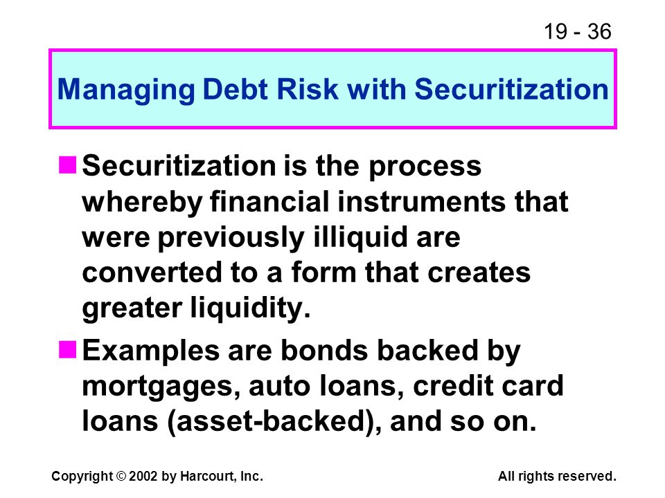 19 - 36 Copyright © 2002 by Harcourt, Inc.All rights reserved. Managing Debt Risk with Securitization Securitization is the process whereby financial