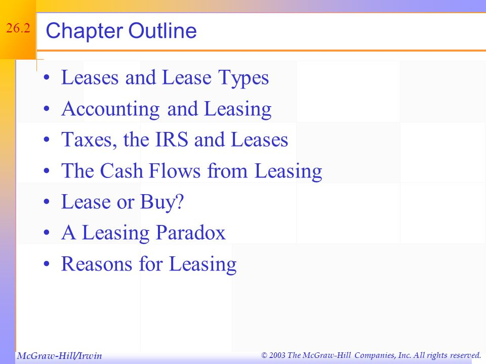 McGraw-Hill/Irwin © 2003 The McGraw-Hill Companies, Inc. All rights reserved. 26.1 Key Concepts and Skills Understand the basic lease terminology Unde