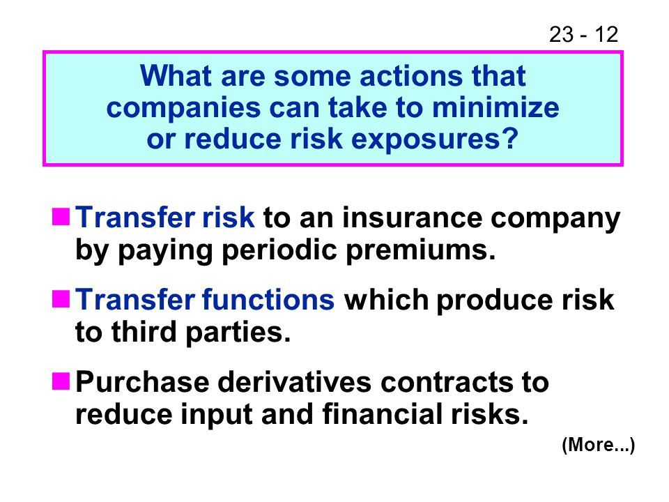 23 - 12 Transfer risk to an insurance company by paying periodic premiums.
