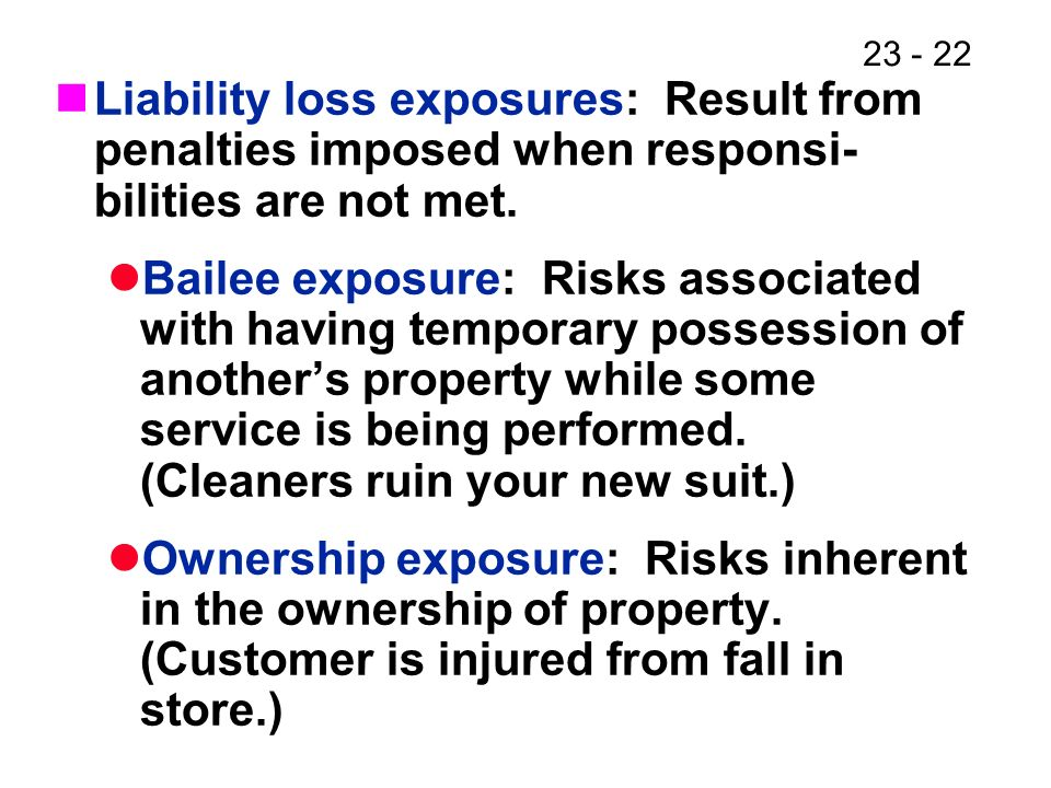 23 - 22 Liability loss exposures: Result from penalties imposed when responsi- bilities are not met.