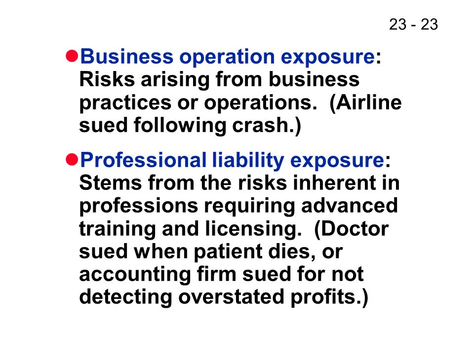 23 - 23 Business operation exposure: Risks arising from business practices or operations.