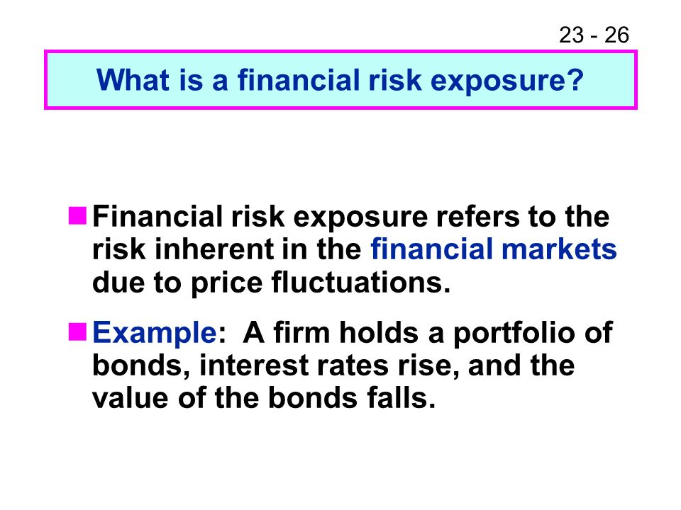 23 - 26 Financial risk exposure refers to the risk inherent in the financial markets due to price fluctuations.