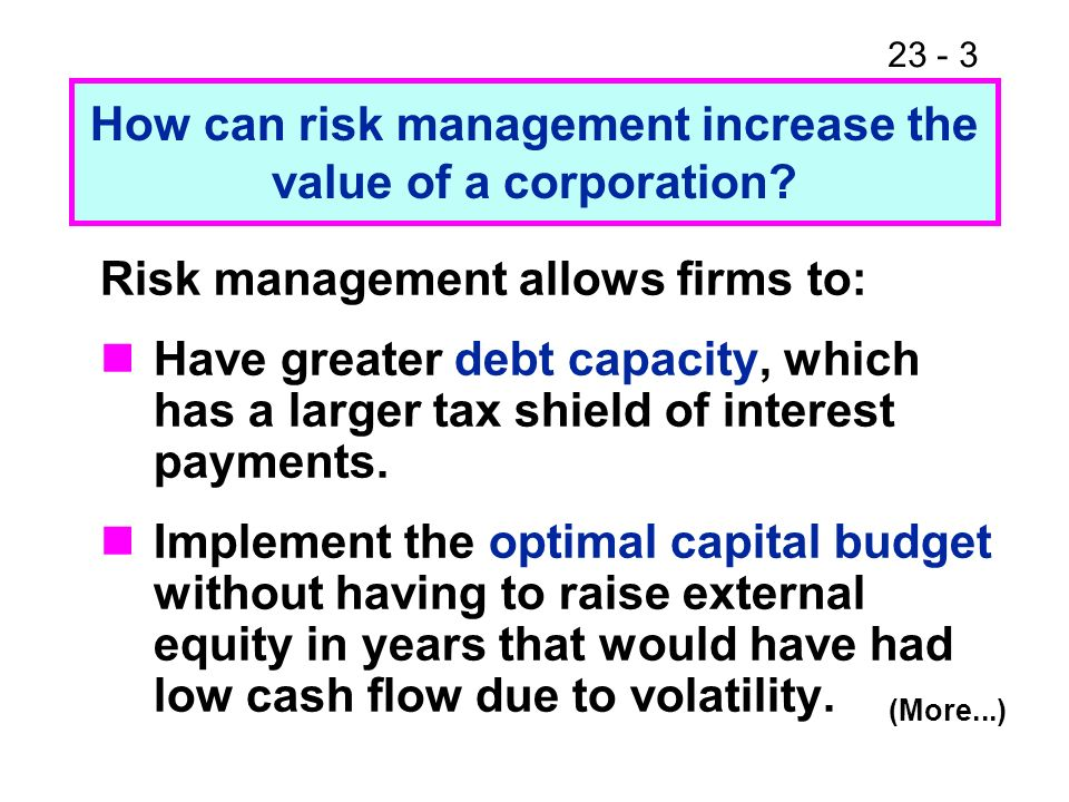 23 - 4 Risk management allows firms to: Avoid costs of financial distress.