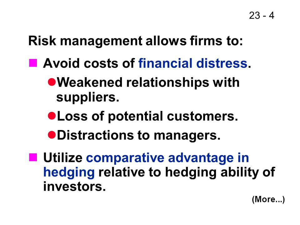 23 - 5 Risk management allows firms to: Reduce borrowing costs by using interest rate swaps.