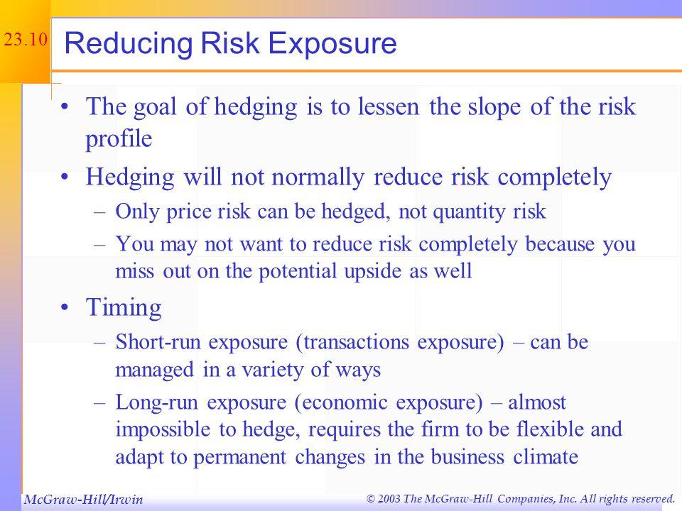 McGraw-Hill/Irwin © 2003 The McGraw-Hill Companies, Inc. All rights reserved. 23.9 Risk Profiles Basic tool for identifying and measuring exposure to