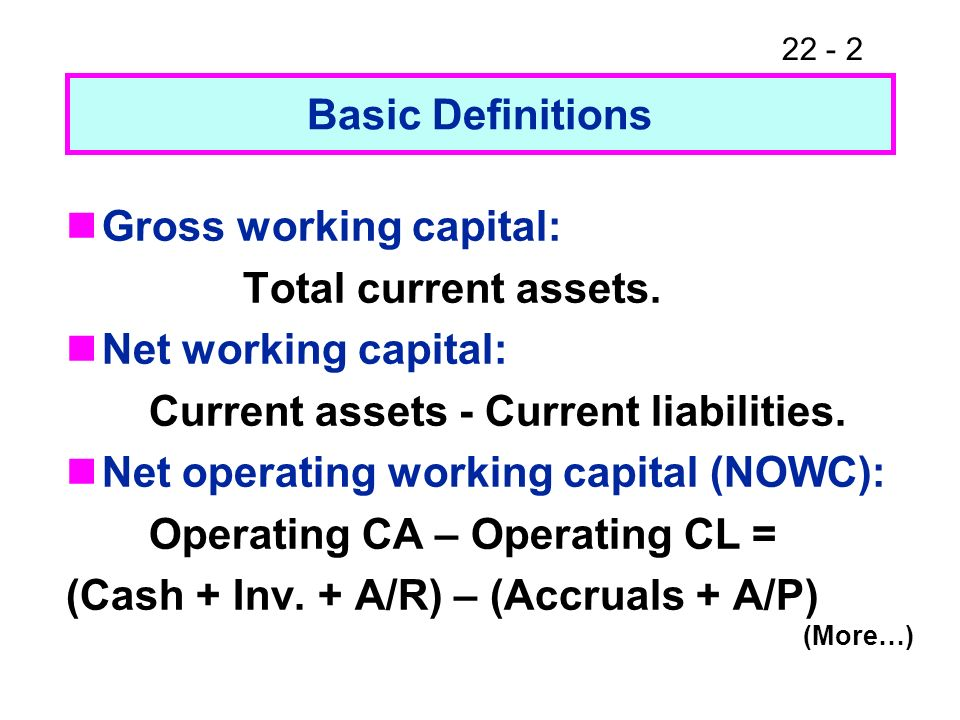 22 - 2 Basic Definitions Gross working capital: Total current assets. Net working capital: Current assets - Current liabilities. Net operating working