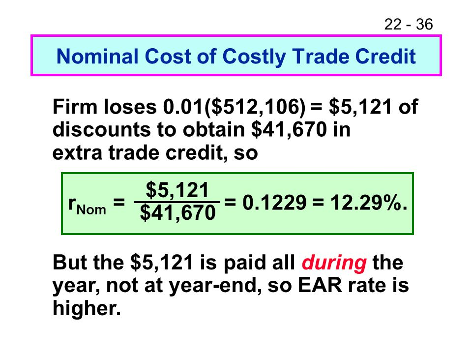 22 - 36 Nominal Cost of Costly Trade Credit But the $5,121 is paid all during the year, not at year-end, so EAR rate is higher. Firm loses 0.01($512,1