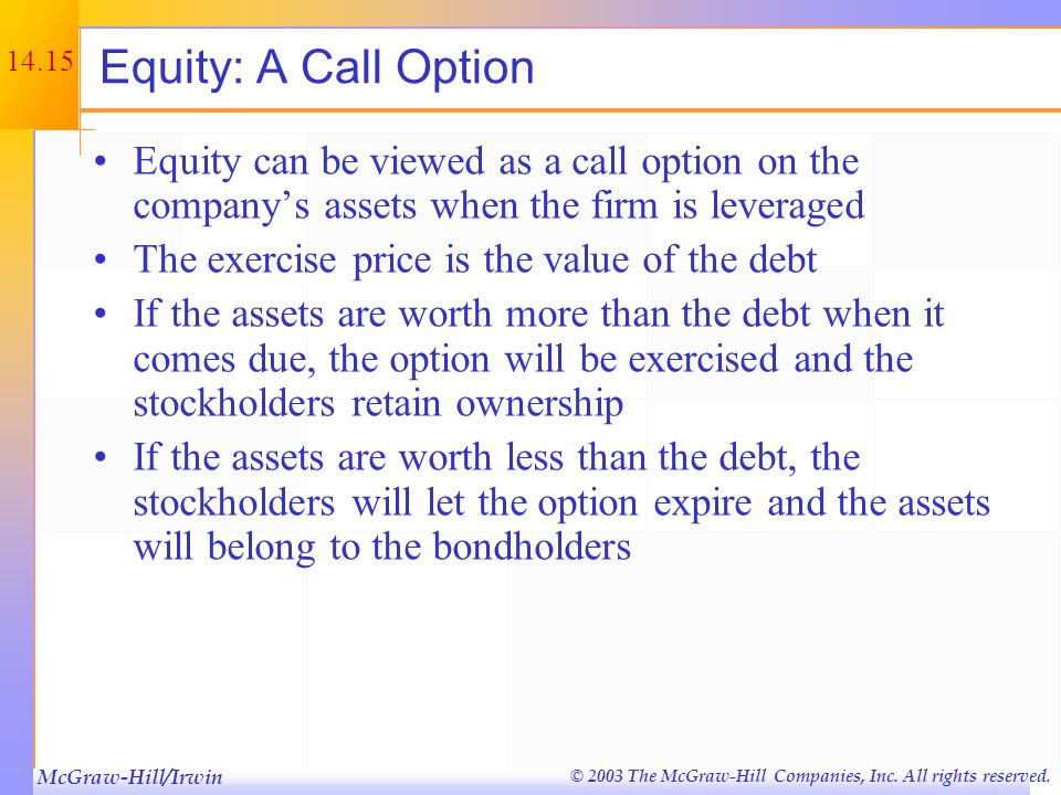 McGraw-Hill/Irwin © 2003 The McGraw-Hill Companies, Inc. All rights reserved. 14.14 Employee Stock Options Options that are given to employees as part