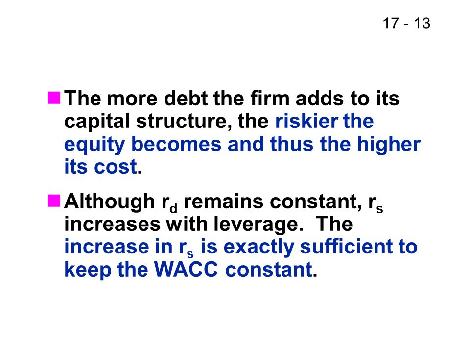 17 - 13 The more debt the firm adds to its capital structure, the riskier the equity becomes and thus the higher its cost. Although r d remains consta