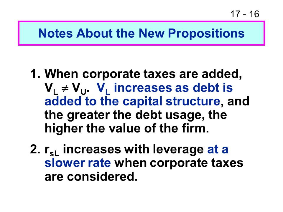 17 - 16 Notes About the New Propositions 1.When corporate taxes are added, V L V U. V L increases as debt is added to the capital structure, and the g