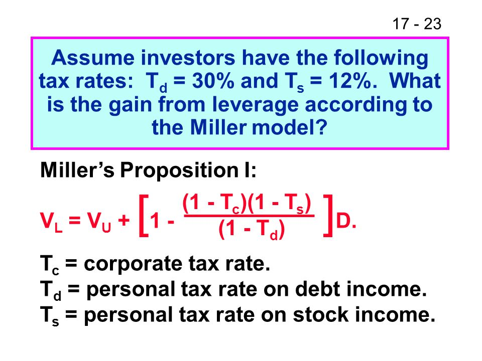 17 - 23 Assume investors have the following tax rates: T d = 30% and T s = 12%. What is the gain from leverage according to the Miller model? Millers
