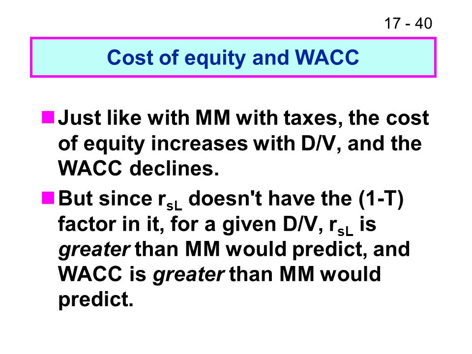 17 - 40 Cost of equity and WACC Just like with MM with taxes, the cost of equity increases with D/V, and the WACC declines. But since r sL doesn't hav