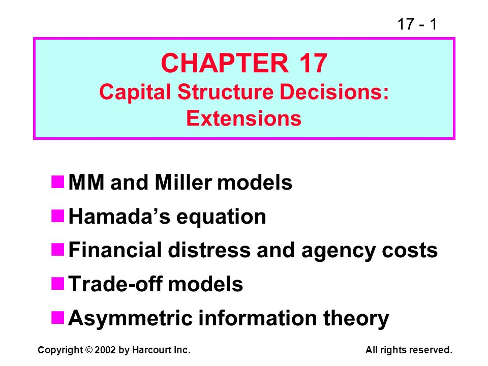 17 - 1 Copyright © 2002 by Harcourt Inc.All rights reserved. CHAPTER 17 Capital Structure Decisions: Extensions MM and Miller models Hamadas equation