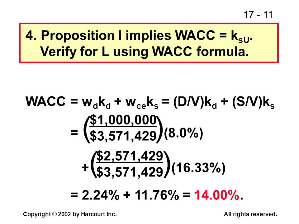 17 - 11 Copyright © 2002 by Harcourt Inc.All rights reserved. 4.Proposition I implies WACC = k sU. Verify for L using WACC formula. WACC= w d k d + w
