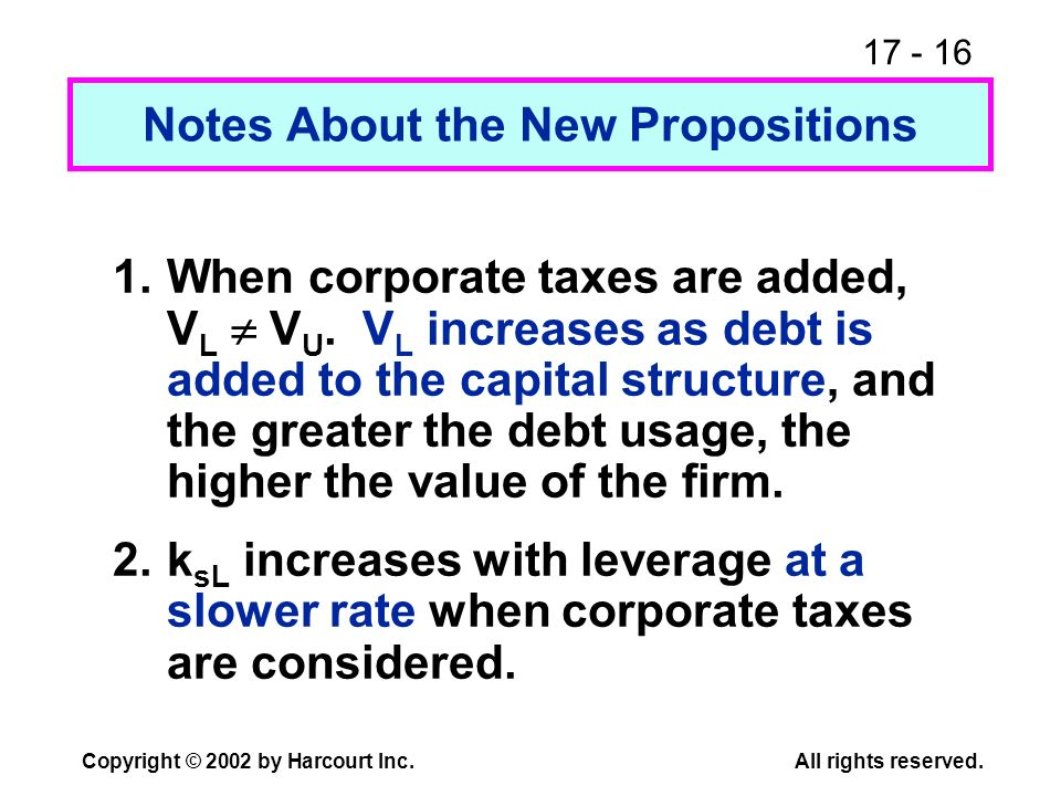 17 - 16 Copyright © 2002 by Harcourt Inc.All rights reserved. Notes About the New Propositions 1.When corporate taxes are added, V L V U. V L increase