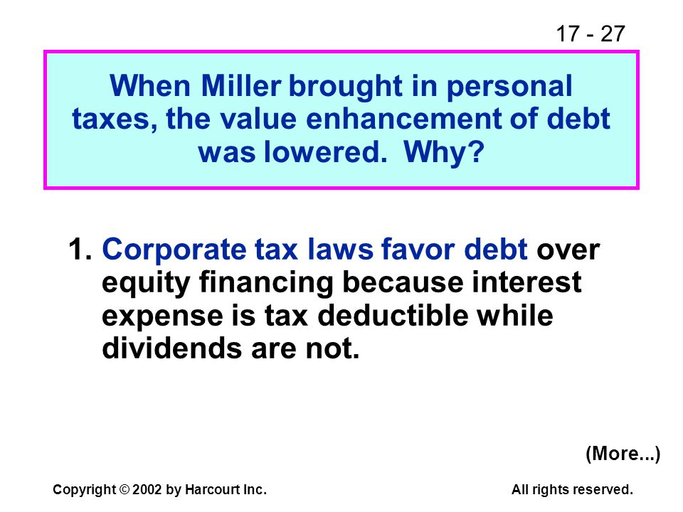 17 - 27 Copyright © 2002 by Harcourt Inc.All rights reserved. When Miller brought in personal taxes, the value enhancement of debt was lowered. Why? 1