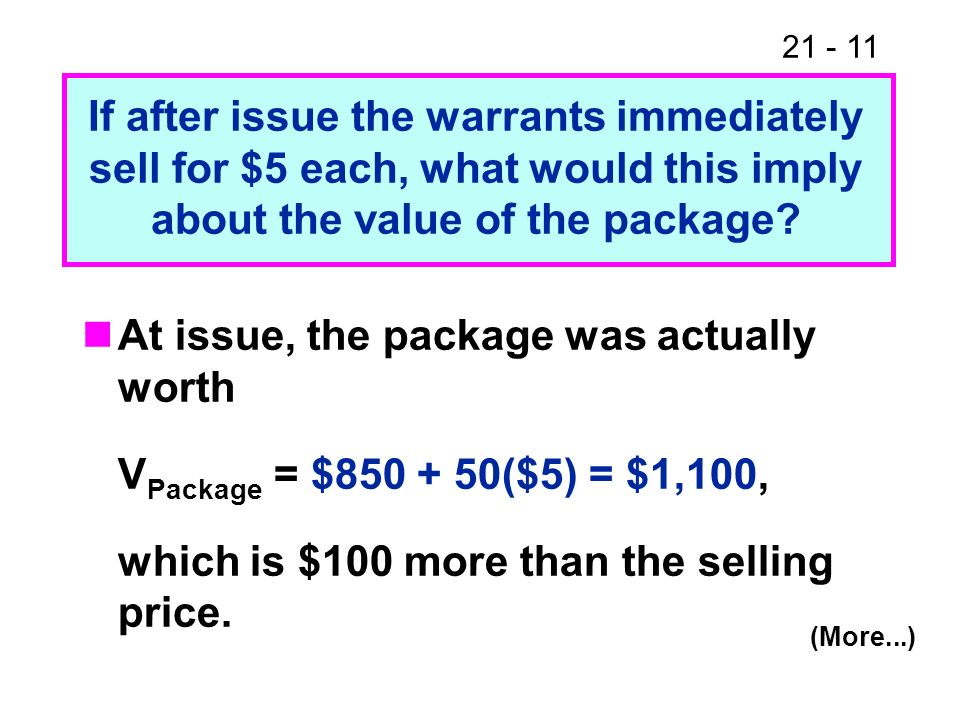 21 - 11 At issue, the package was actually worth V Package = $850 + 50($5) = $1,100, which is $100 more than the selling price. If after issue the war