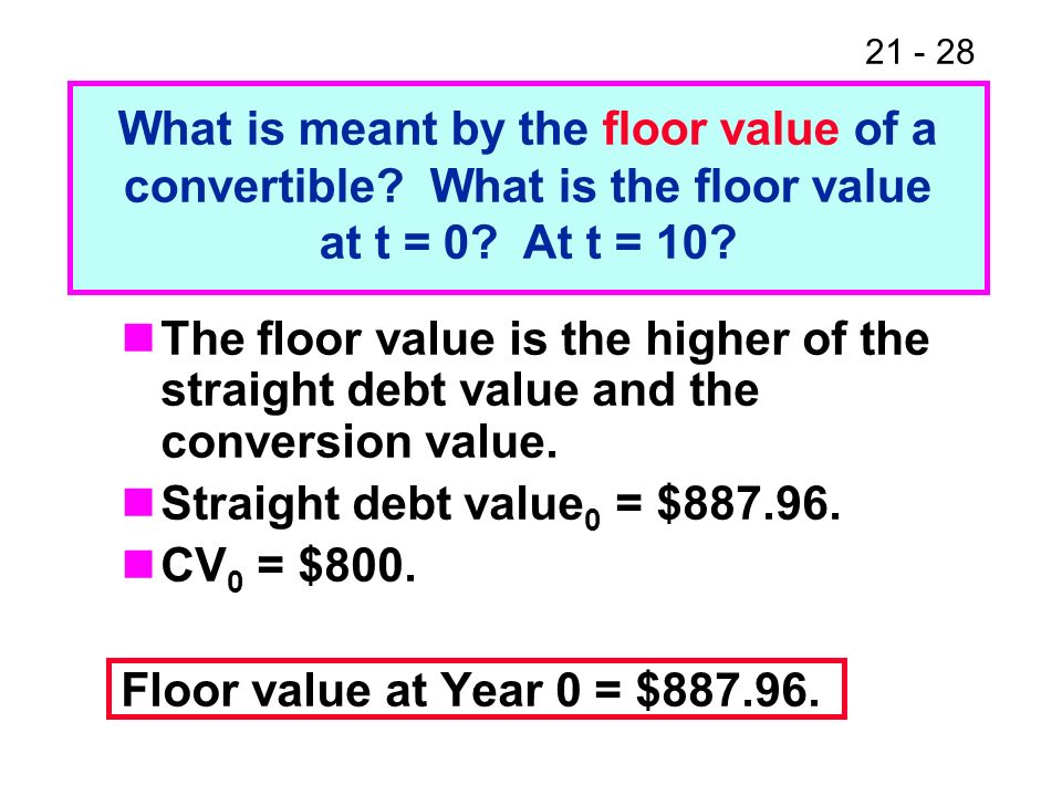 21 - 28 The floor value is the higher of the straight debt value and the conversion value. Straight debt value 0 = $887.96. CV 0 = $800. Floor value a
