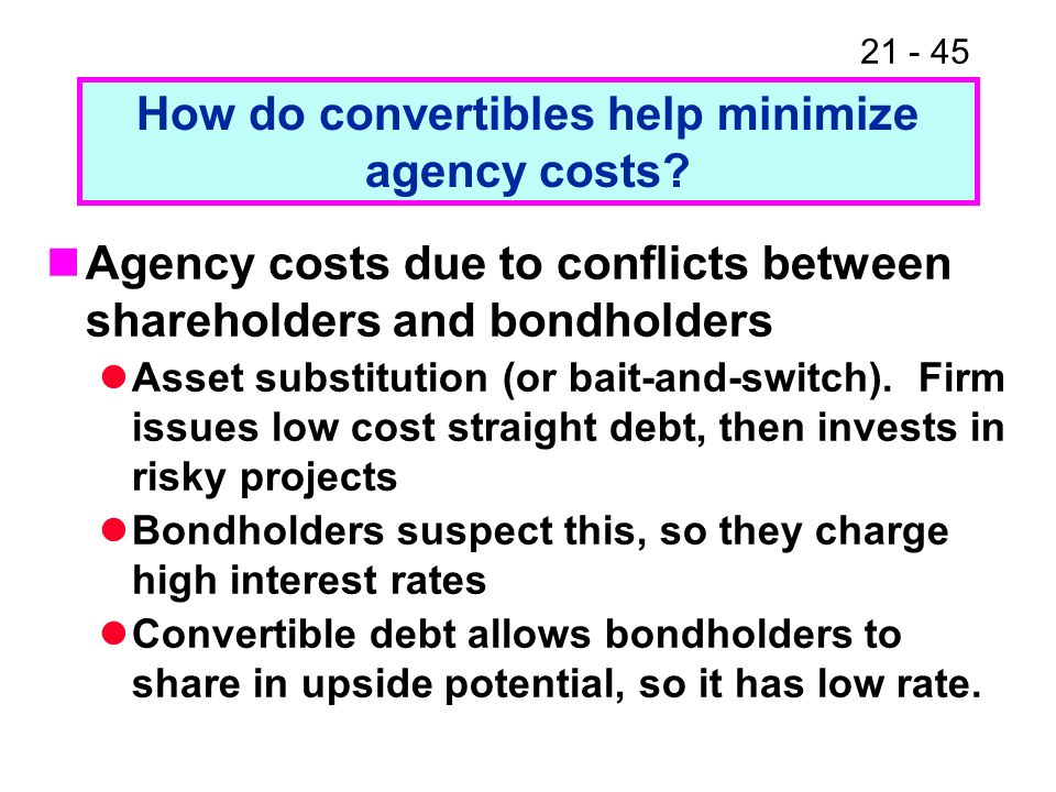 21 - 45 How do convertibles help minimize agency costs? Agency costs due to conflicts between shareholders and bondholders Asset substitution (or bait