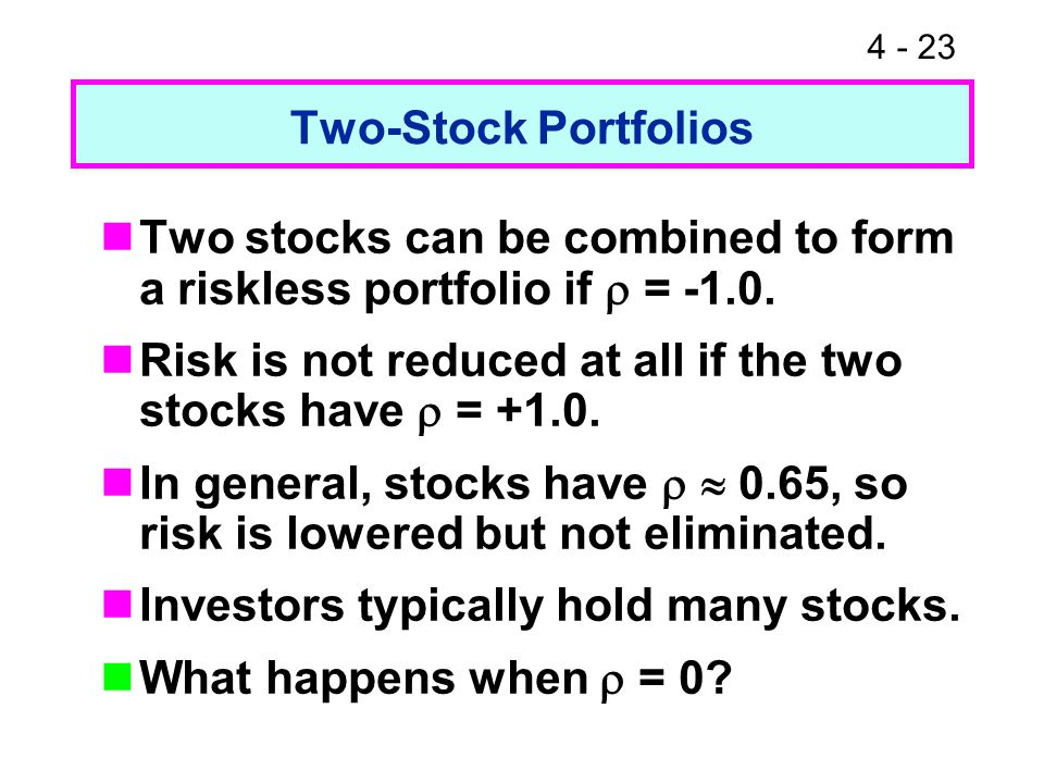 4 - 23 Two-Stock Portfolios Two stocks can be combined to form a riskless portfolio if = -1.0. Risk is not reduced at all if the two stocks have = +1.