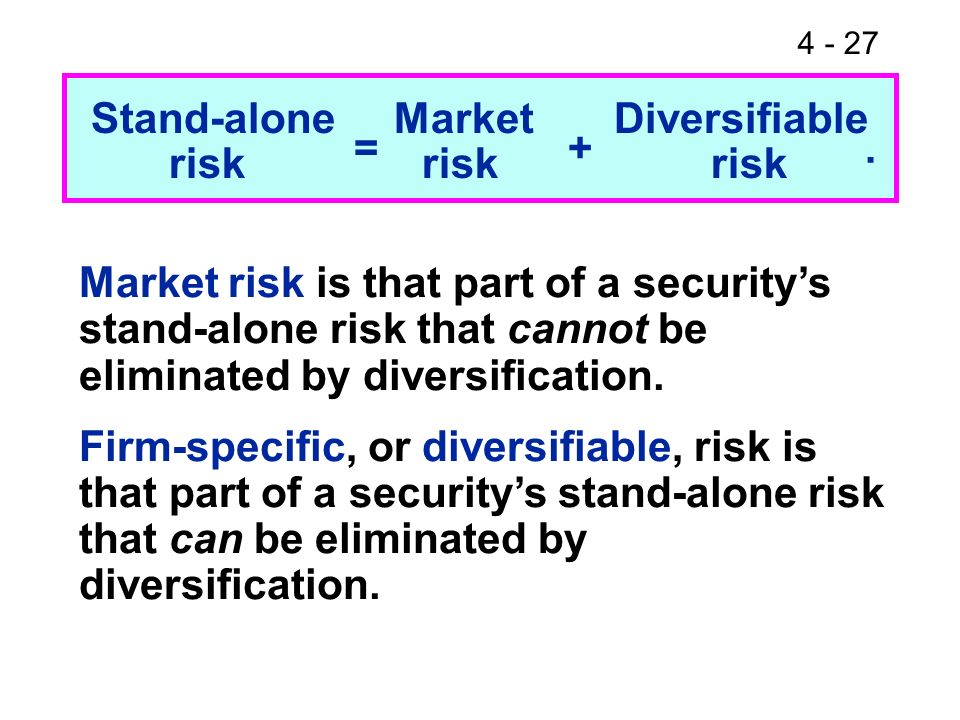 4 - 27 Stand-alone Market Diversifiable Market risk is that part of a securitys stand-alone risk that cannot be eliminated by diversification. Firm-sp